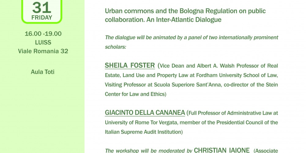 Collaboration and Urban Commons. An inter-Atlantic dialogue on the Bologna Regulation on public collaboration