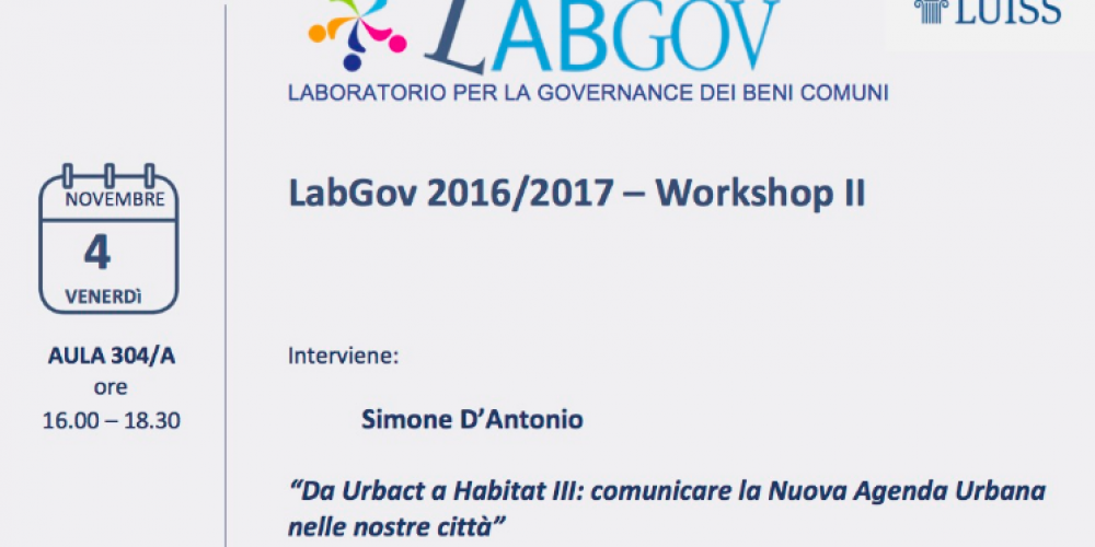 Save the date: on Friday, Nov 4th, second workshop of LabGov EDU 2016/2017!