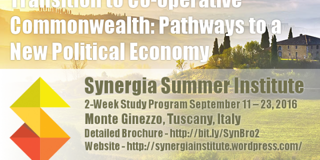 "2-Week Study Program  ""Transition to Co-operative Commonwealth:  Pathways to a New Political Economy"""